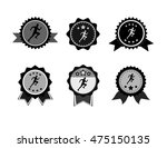 vintage badge with jogger... | Shutterstock .eps vector #475150135