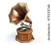 Vintage Gramophone Isolated On...
