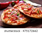 meat naan pizza with chicken... | Shutterstock . vector #475172662