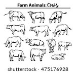 different cows set in contour ... | Shutterstock .eps vector #475176928