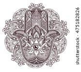 hand drawn ornate amulet hamsa... | Shutterstock .eps vector #475182826