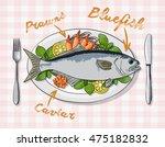 rich plate full of various... | Shutterstock .eps vector #475182832