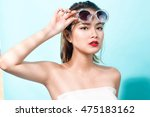 colorful portrait of young... | Shutterstock . vector #475183162
