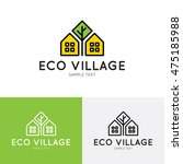 Stock vector eco village logo design template vector real estate bio house sign logotype icon bright flat 475185988