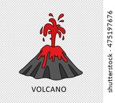 volcano eruption with hot lava... | Shutterstock .eps vector #475197676