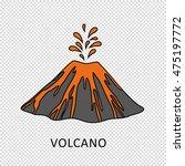 volcano eruption with hot lava... | Shutterstock .eps vector #475197772