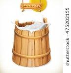Wooden Bucket. Milk. Rustic...