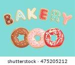 donuts poster. vector... | Shutterstock .eps vector #475205212