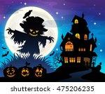 halloween scarecrow silhouette...   Shutterstock .eps vector #475206235