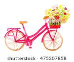 watercolor hand painted bicycle ... | Shutterstock . vector #475207858