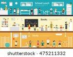 school lunch books study flat... | Shutterstock .eps vector #475211332