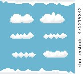 Vector Sky With Clouds Pixel...
