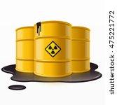 yellow metal barrels with... | Shutterstock .eps vector #475221772