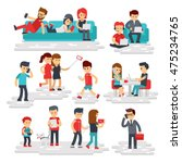 people with gadgets vector flat ... | Shutterstock .eps vector #475234765