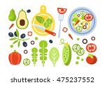 salad preparation set of... | Shutterstock .eps vector #475237552