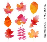 set of autumn watercolor leaves ... | Shutterstock . vector #475245526