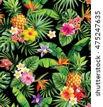 seamless tropical pattern with... | Shutterstock .eps vector #475247635