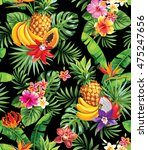 seamless pattern with tropical... | Shutterstock .eps vector #475247656