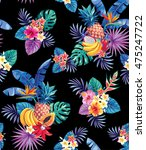 seamless pattern with tropical... | Shutterstock .eps vector #475247722