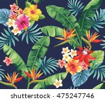 seamless pattern with palm... | Shutterstock .eps vector #475247746