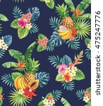 seamless pattern with tropical... | Shutterstock .eps vector #475247776