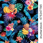 seamless pattern with tropical... | Shutterstock .eps vector #475247785