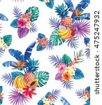 seamless pattern with tropical... | Shutterstock .eps vector #475247932