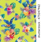 seamless pattern with tropical... | Shutterstock .eps vector #475247962