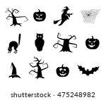 black halloween items. | Shutterstock . vector #475248982