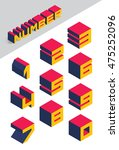 collection of isometric numbers.... | Shutterstock .eps vector #475252096