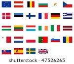 flags of the European Union - isolated illustrations useful as icons for a multilanguage website - stock photo