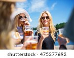 happy girl with friends | Shutterstock . vector #475277692