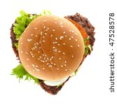 delicious hamburger in shape of a heart - stock photo