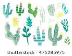 hand drawn vector cacti set in... | Shutterstock .eps vector #475285975