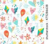 happy vector pattern of kites... | Shutterstock .eps vector #475286638