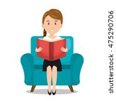 woman reading textbook icon...   Shutterstock .eps vector #475290706