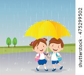 children under the umbrella.... | Shutterstock .eps vector #475299502