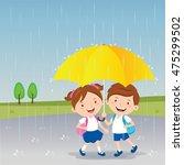 children under the umbrella....   Shutterstock .eps vector #475299502