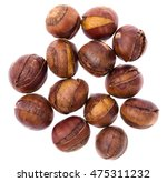 chestnuts isolated on white... | Shutterstock . vector #475311232
