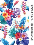 seamless pattern with palm... | Shutterstock .eps vector #475314226