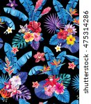 seamless pattern with palm... | Shutterstock .eps vector #475314286