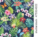 seamless pattern with palm... | Shutterstock .eps vector #475314322