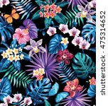 seamless pattern with palm... | Shutterstock .eps vector #475314652