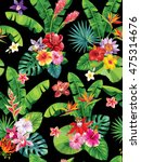 seamless pattern with palm... | Shutterstock .eps vector #475314676