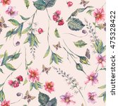 watercolor vintage floral... | Shutterstock . vector #475328422