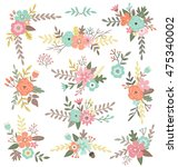 hand drawn isolated floral... | Shutterstock .eps vector #475340002