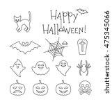 halloween linear flat icons set.... | Shutterstock .eps vector #475345066
