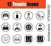 tennis icon set.  thin circle...