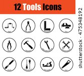 tools icon set.  thin circle...