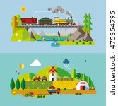 set of different landscapes in... | Shutterstock .eps vector #475354795
